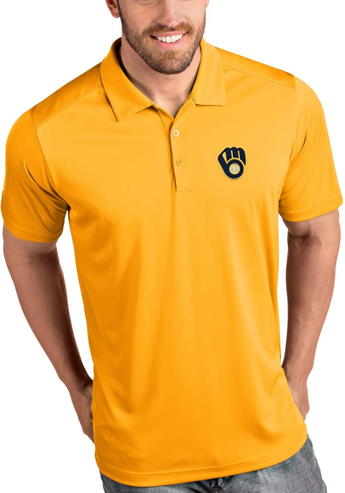 Antigua Milwaukee Brewers Mens Gold Tribute Short Sleeve Polo - Image 1