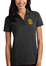 San Diego Padres Womens Antigua Tribute Polo Shirt - Grey