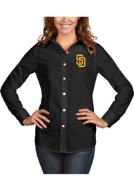 San Diego Padres Womens Antigua Dynasty Dress Shirt - Black