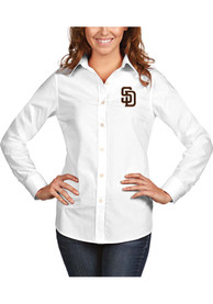 San Diego Padres Womens Antigua Dynasty Dress Shirt - White