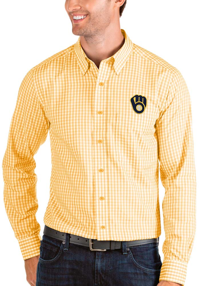 Antigua Milwaukee Brewers Mens Gold Structure Long Sleeve Dress Shirt - Image 1