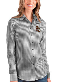 San Diego Padres Womens Antigua Structure Dress Shirt - Black