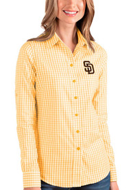 San Diego Padres Womens Antigua Structure Dress Shirt - Gold