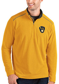 Milwaukee Brewers Antigua Glacier 1/4 Zip Pullover - Gold