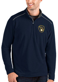 Milwaukee Brewers Antigua Glacier 1/4 Zip Pullover - Navy Blue