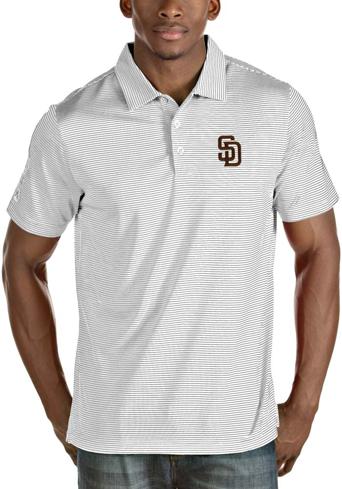 Antigua San Diego Padres Mens White Quest Short Sleeve Polo - Image 1