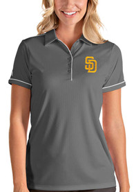 San Diego Padres Womens Antigua Salute Polo Shirt - Grey