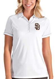 San Diego Padres Womens Antigua Salute Polo Shirt - White