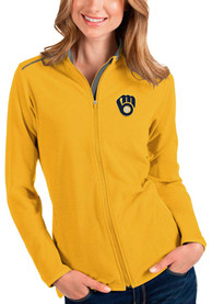 Milwaukee Brewers Womens Antigua Glacier Light Weight Jacket - Gold
