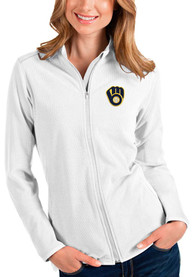 Milwaukee Brewers Womens Antigua Glacier Light Weight Jacket - White