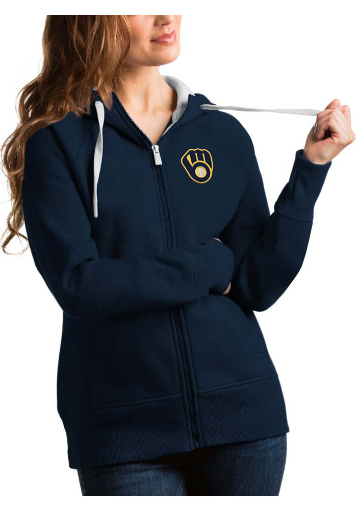 Milwaukee Brewers Womens Antigua Victory Full Zip Jacket - Navy Blue