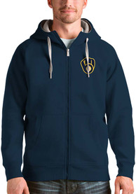 Milwaukee Brewers Antigua Victory Full Zip Jacket - Navy Blue