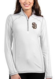 San Diego Padres Womens Antigua Tempo 1/4 Zip - White
