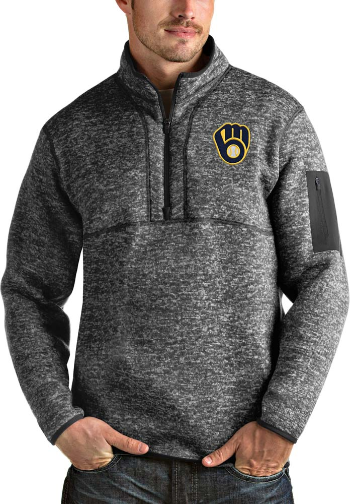 Antigua Milwaukee Brewers Mens Grey Fortune Long Sleeve 1/4 Zip Fashion Pullover - Image 1
