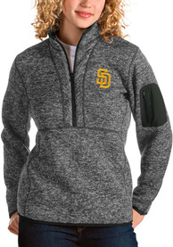 San Diego Padres Womens Antigua Fortune 1/4 Zip Pullover - Grey