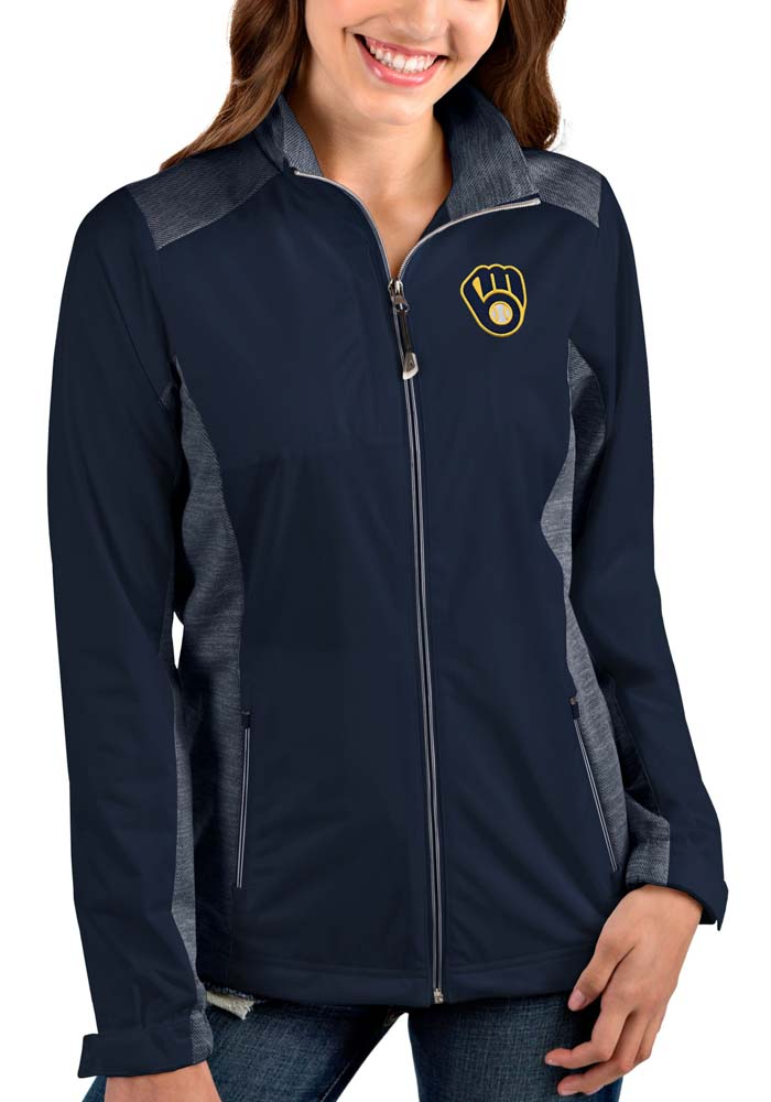 Antigua Milwaukee Brewers Womens Navy Blue Revolve Light Weight Jacket - Image 1