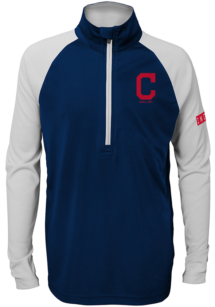 Cleveland Indians Youth Navy Blue Destined Long Sleeve Quarter Zip Shirt - Image 1