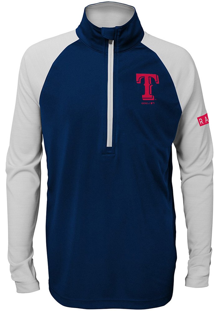 Texas Rangers Youth Navy Blue Destined Long Sleeve Quarter Zip Shirt - Image 1