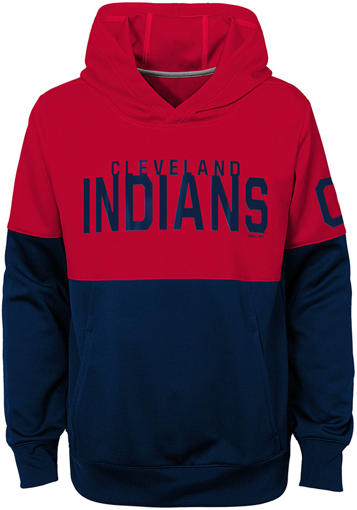 best authentic e46bf a4932 Cleveland Indians Youth Navy Blue Playoff Long Sleeve Hoodie