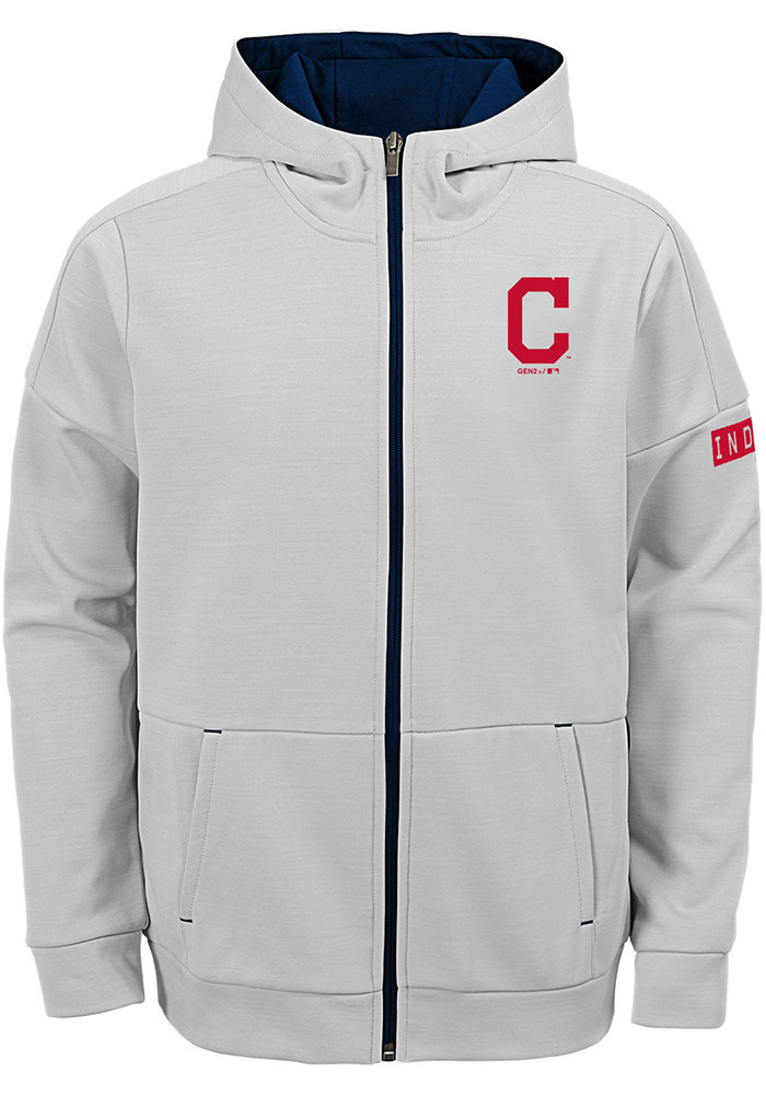 Cleveland Indians Youth Grey Enduring Long Sleeve Full Zip Jacket - Image 1