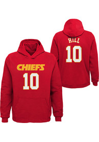 Tyreek Hill Kansas City Chiefs Youth Name and Number Long Sleeve Hoodie Red