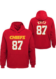 Travis Kelce Kansas City Chiefs Youth Outer Stuff Name and Number Hoodie - Red