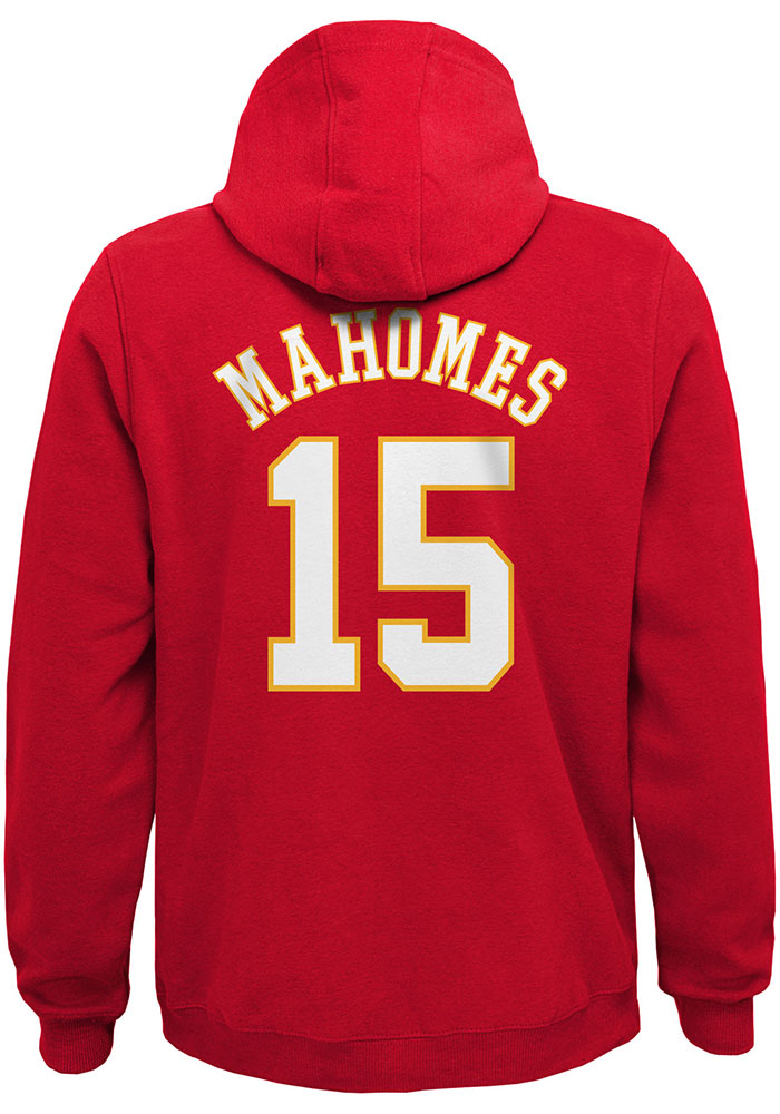 Patrick Mahomes Kansas City Chiefs Youth Name and Number Long Sleeve Hoodie Red - Image 1