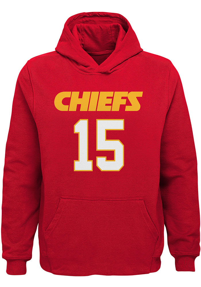 Patrick Mahomes Kansas City Chiefs Youth Name and Number Long Sleeve Hoodie Red - Image 2
