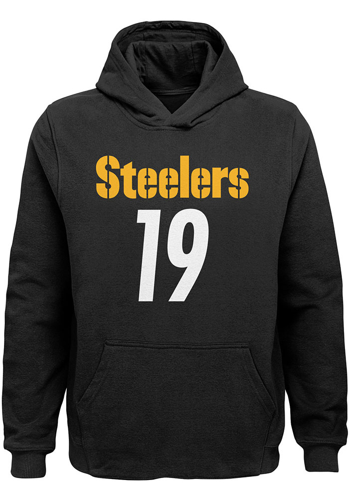 quality design 69f49 3c838 JuJu Smith-Schuster Outer Stuff Pittsburgh Steelers Youth N&N Long Sleeve  Player Hoodie Black