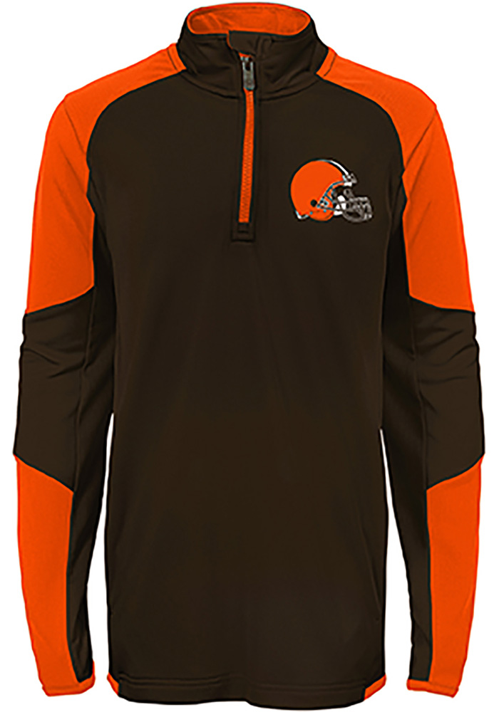 Cleveland Browns Boys Brown Beta Long Sleeve 1/4 Zip Pullover - Image 1