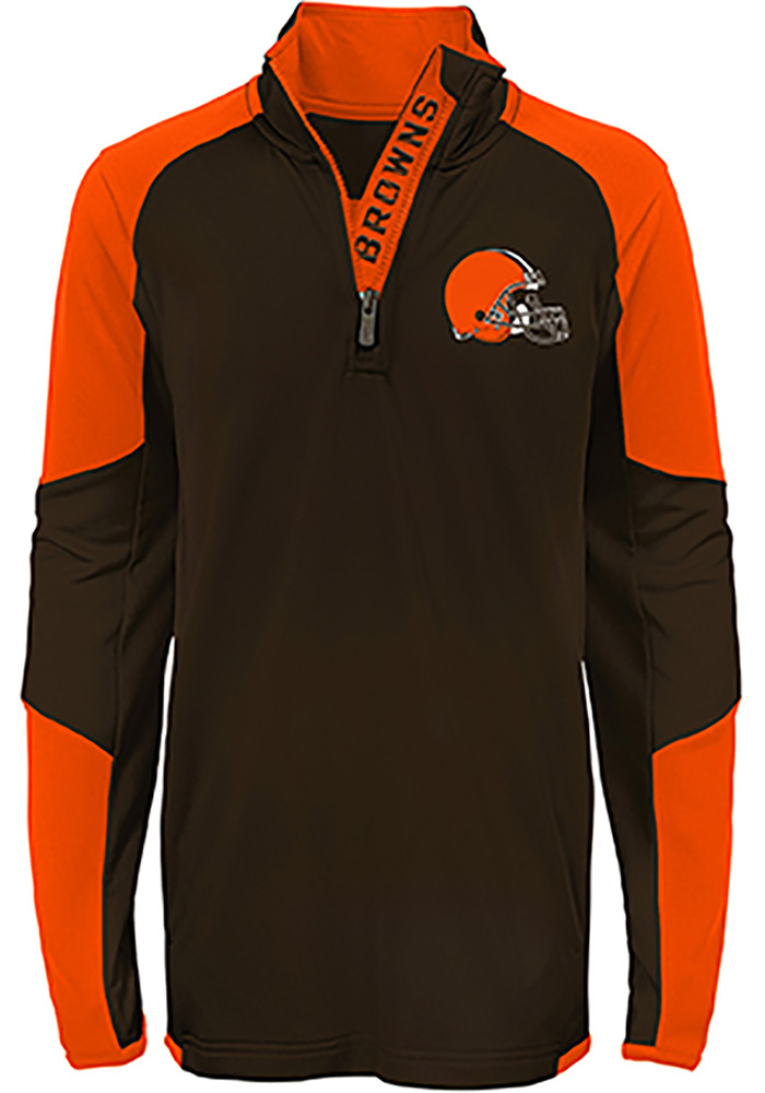 Cleveland Browns Boys Brown Beta Long Sleeve 1/4 Zip Pullover - Image 2