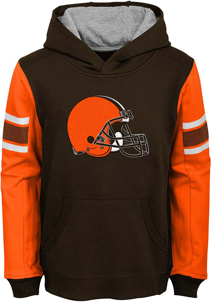 Cleveland Browns Boys Brown Man In Motion Long Sleeve Hooded Sweatshirt - Image 1