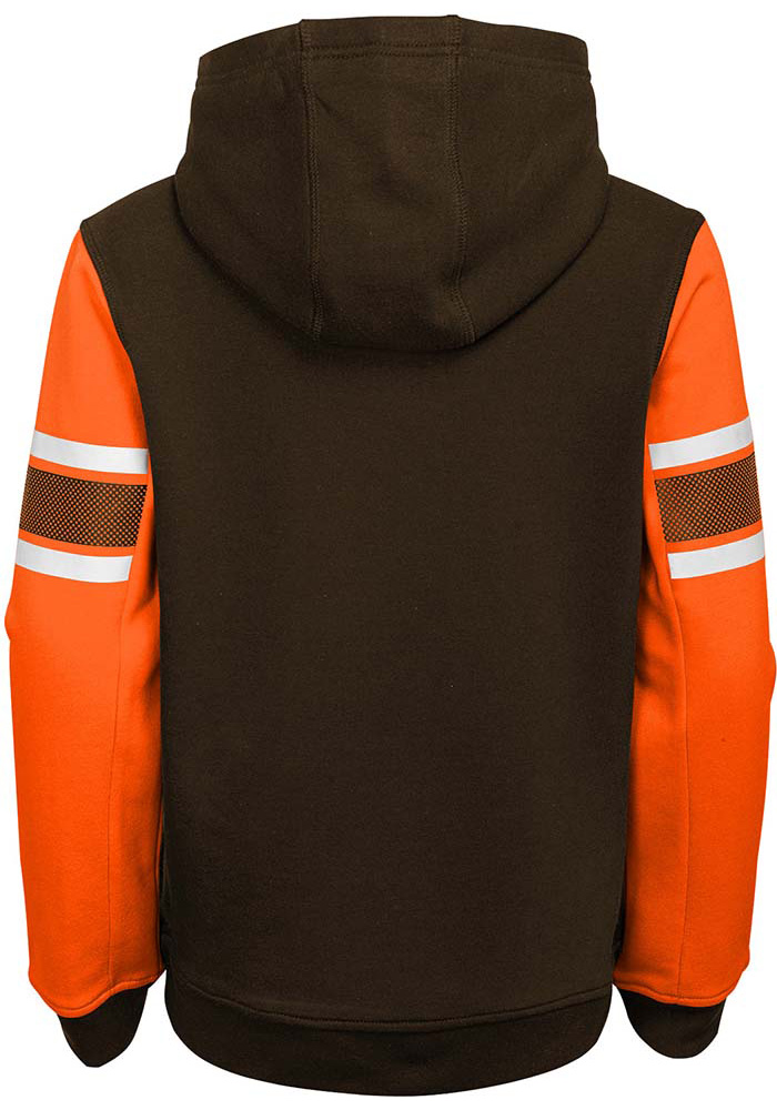 Cleveland Browns Boys Brown Man In Motion Long Sleeve Hooded Sweatshirt - Image 2