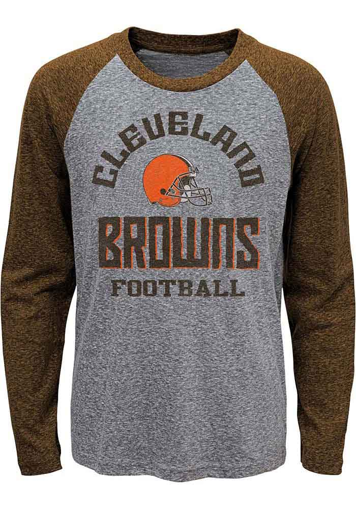 Cleveland Browns Boys Brown Classic Gridiron Long Sleeve Fashion T-Shirt - Image 1
