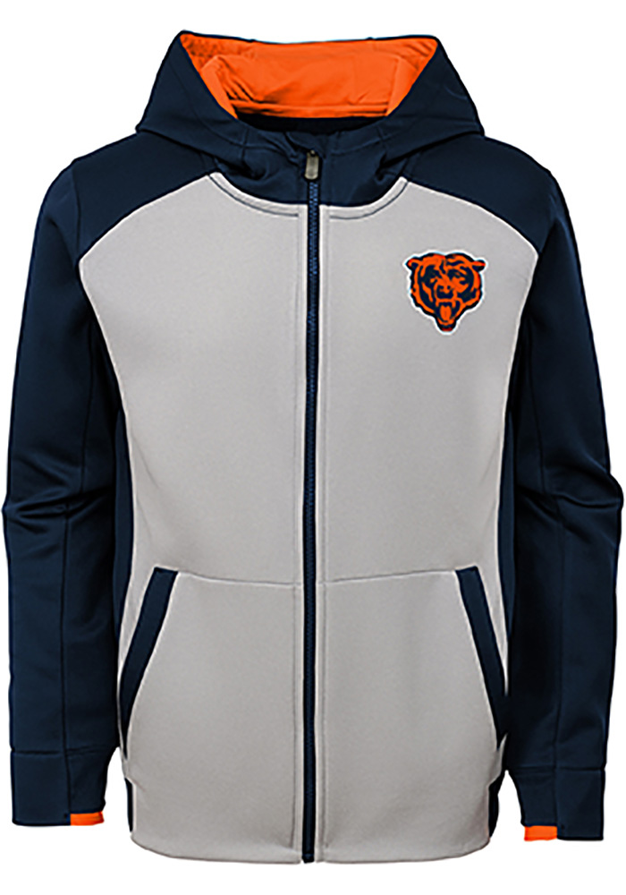 Chicago Bears Boys Navy Blue Hi-Tech Long Sleeve Full Zip Hooded Sweatshirt - Image 1