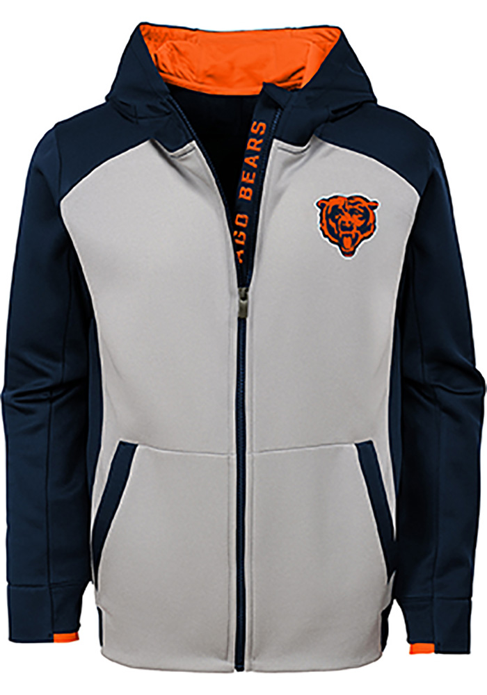 Chicago Bears Boys Navy Blue Hi-Tech Long Sleeve Full Zip Hooded Sweatshirt - Image 2
