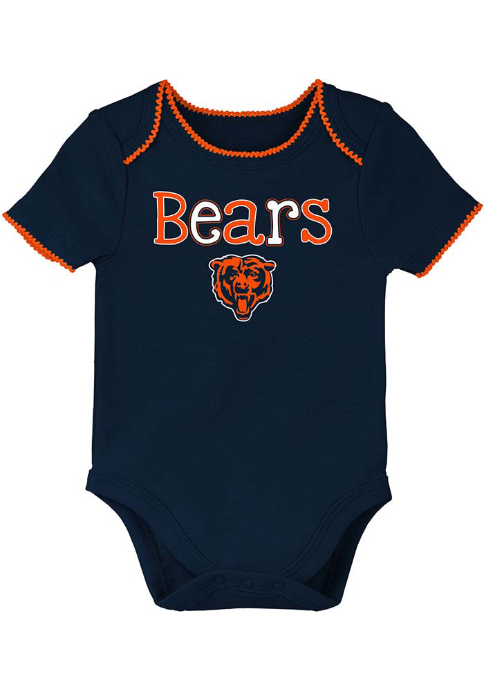 Chicago Bears Baby Navy Blue 3rd Quarter Short Sleeve One Piece - Image 1