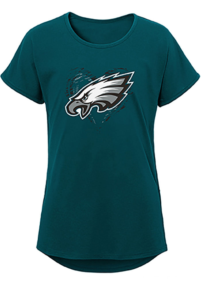 Philadelphia Eagles Girls Midnight Green Sonic Heart Short Sleeve Fashion T-Shirt - Image 1
