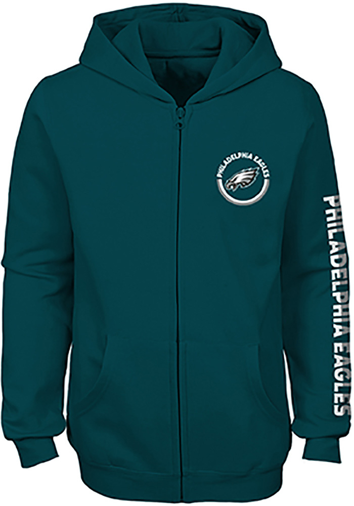 Philadelphia Eagles Girls Midnight Green Brilliant Long Sleeve Full Zip Jacket - Image 1