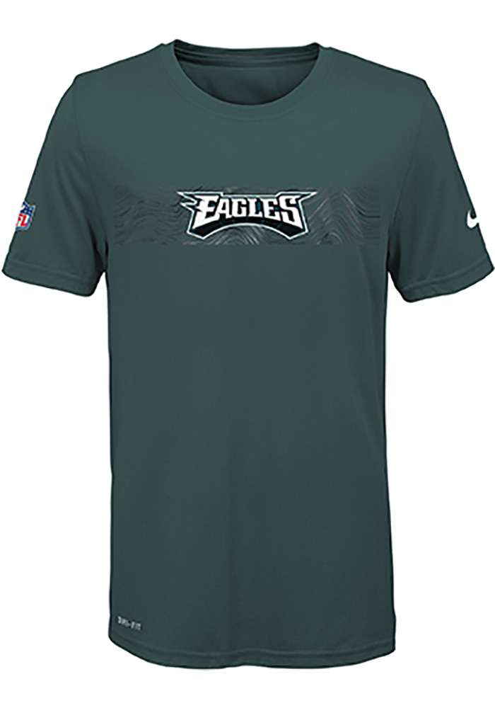 Philadelphia Eagles Youth Midnight Green Onfield Seismic Short Sleeve T-Shirt - Image 1