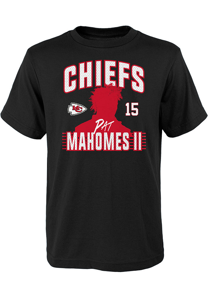 Patrick Mahomes Kansas City Chiefs Youth Black Profile Name and Number Player Tee - Image 1