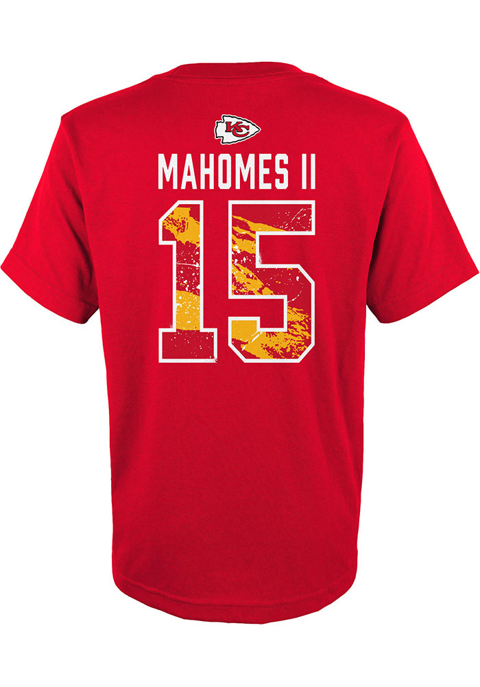 Patrick Mahomes Kansas City Chiefs Youth Red Ripper Name and Number Player Tee - Image 1