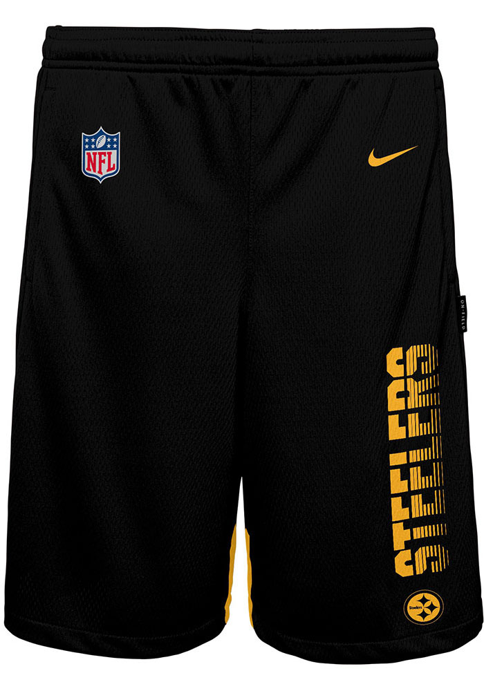 Pittsburgh Steelers Youth Black Knit Player Shorts - Image 1