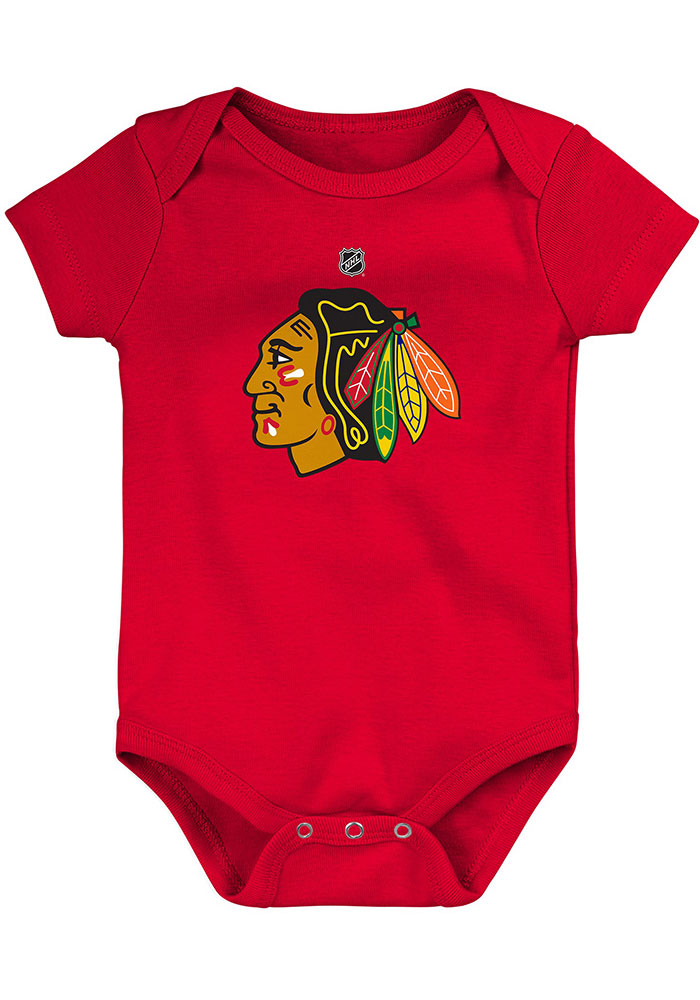 Chicago Blackhawks Baby Red Primary Logo Short Sleeve One Piece - Image 1