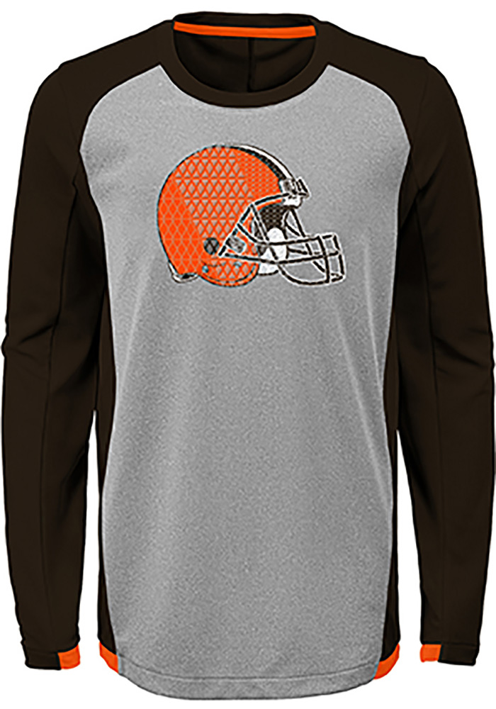 Cleveland Browns Boys Brown Mainframe Long Sleeve T-Shirt - Image 1