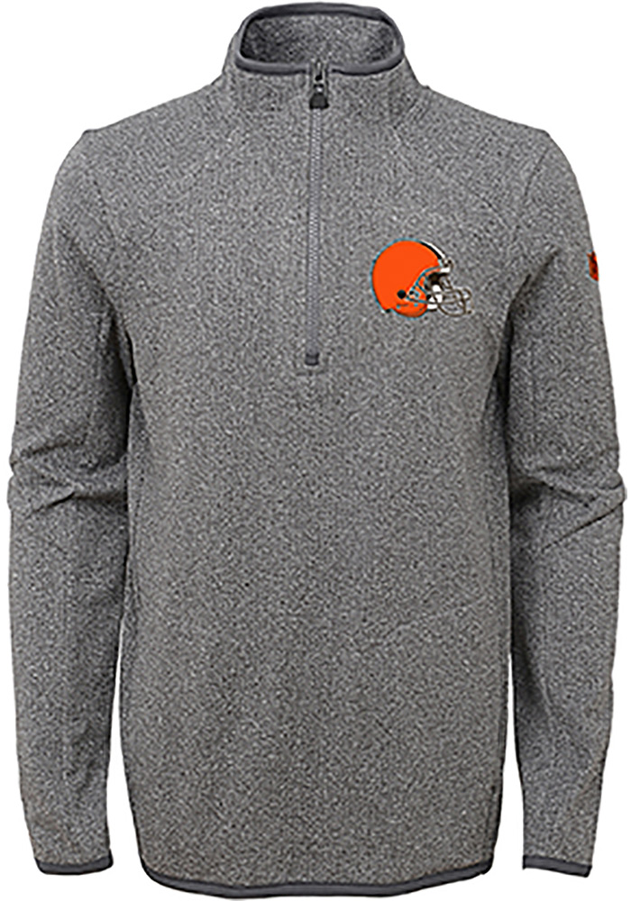 Cleveland Browns Youth Grey Motion Long Sleeve Quarter Zip Shirt - Image 1