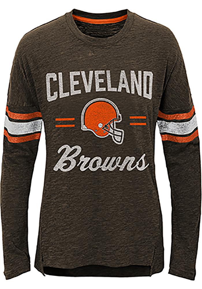 Cleveland Browns Girls Brown Team Captain Long Sleeve T-shirt - Image 1