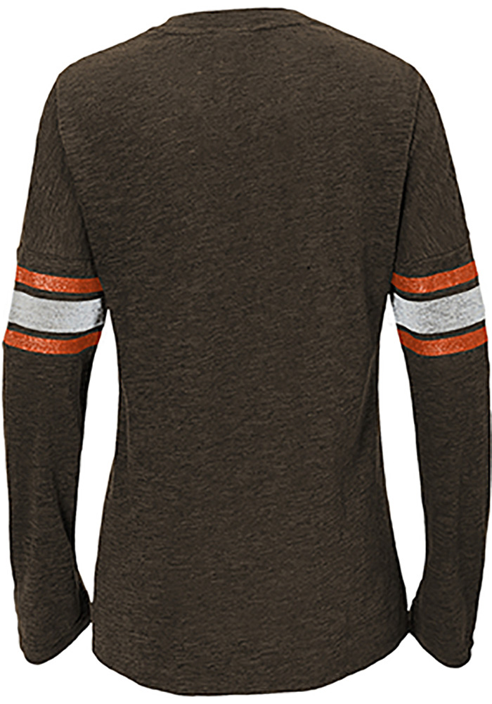 Cleveland Browns Girls Brown Team Captain Long Sleeve T-shirt - Image 2