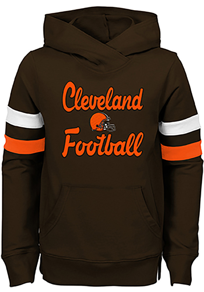 Cleveland Browns Girls Brown Claim to Fame Long Sleeve Hooded Sweatshirt - Image 1