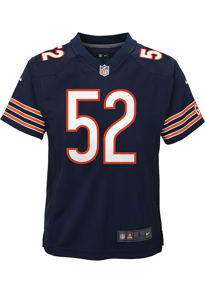 Khalil Mack Chicago Bears Youth Navy Blue Nike Game Team Football Jersey - Image 2